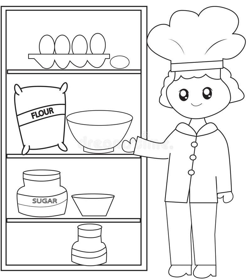 De chef-kok met zijn ingrediënten die pagina kleuren stock illustratie