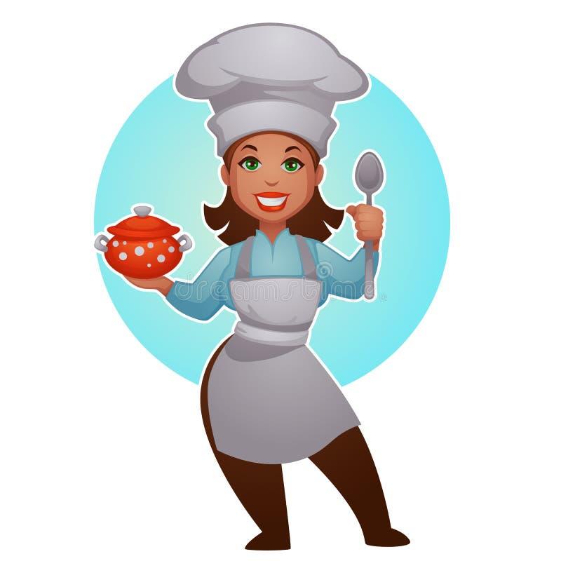 De chef-kok van de beeldverhaalvrouw, vectordame voor uw mascotte royalty-vrije illustratie