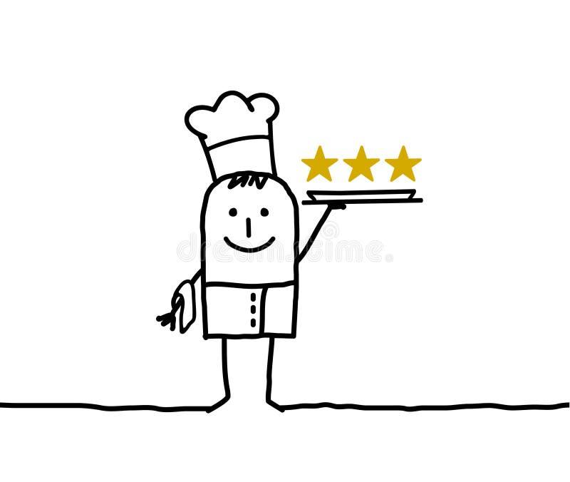 De chef-kok van de kok en drie sterren royalty-vrije illustratie