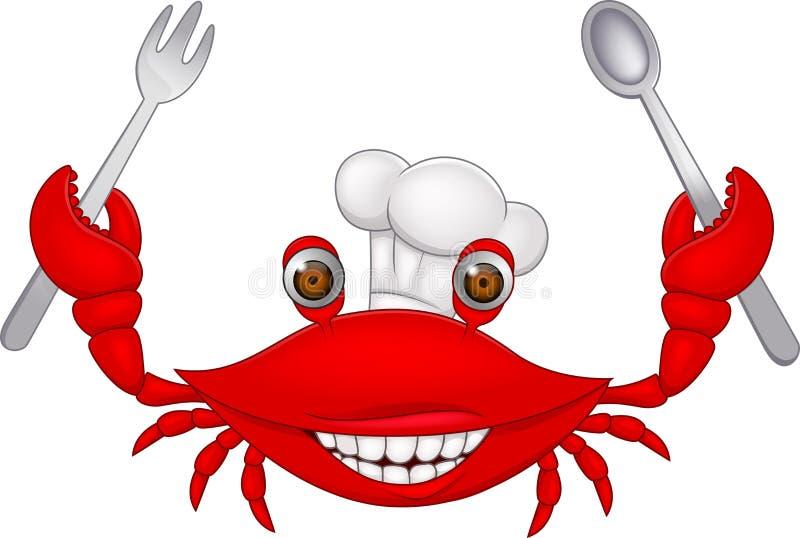 De chef-kok van de krab vector illustratie