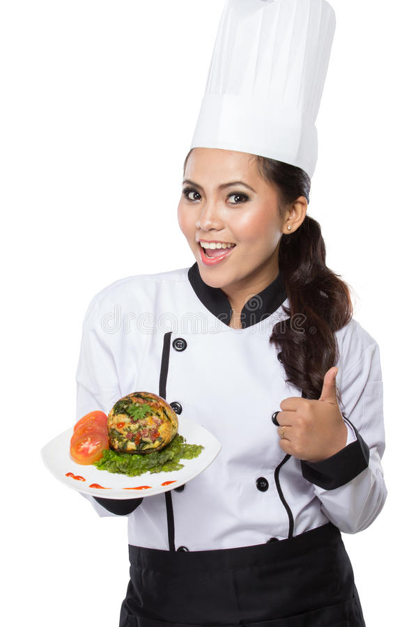 De Chef-kok van de schoonheidsvrouw het voorstellen royalty-vrije stock afbeelding
