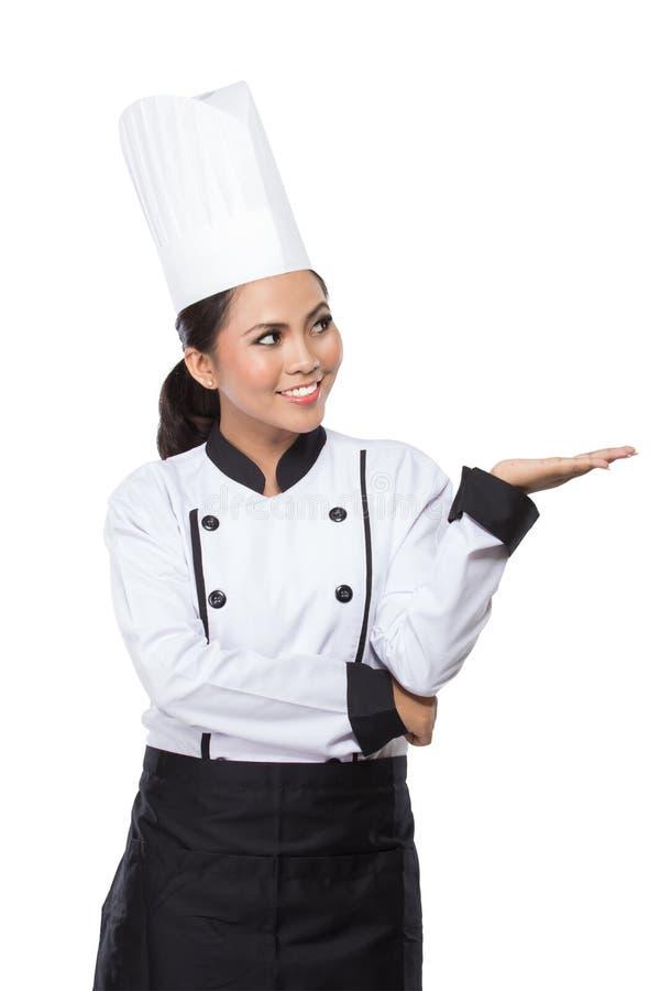 De Chef-kok van de schoonheidsvrouw het voorstellen stock foto's