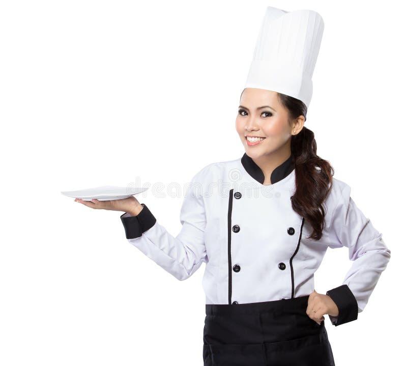 De Chef-kok van de schoonheidsvrouw het voorstellen royalty-vrije stock foto's