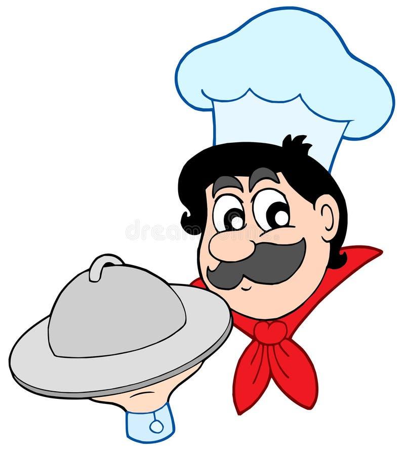 De chef-kok van het beeldverhaal met schotel vector illustratie