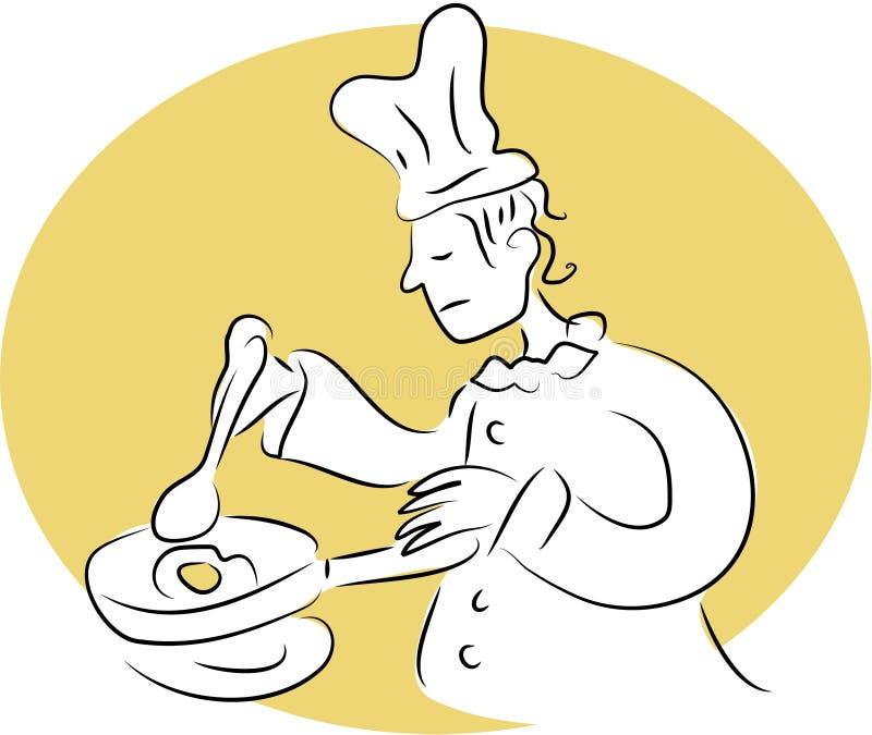 De Chef-kok van het ontbijt vector illustratie