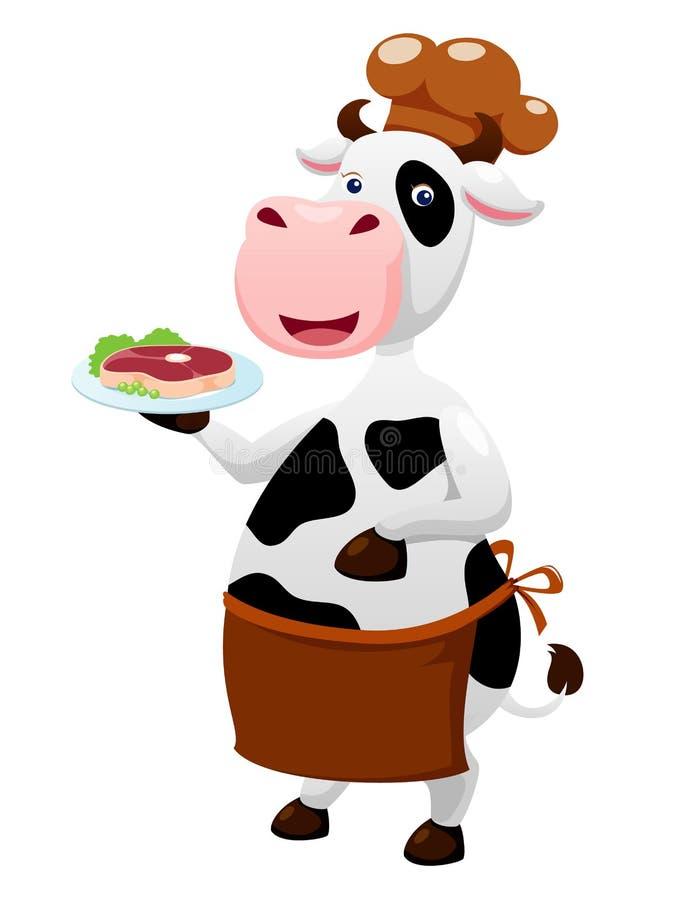 De chef-kokbeeldverhaal van de koe stock illustratie