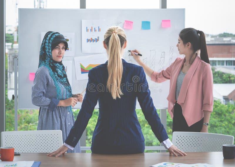 De chef- leider luistert aan presentatie door vrouwelijke werknemer royalty-vrije stock afbeeldingen