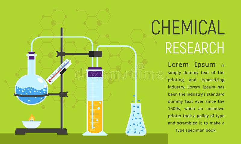 De chemische banner van het onderzoekconcept, vlakke stijl royalty-vrije illustratie
