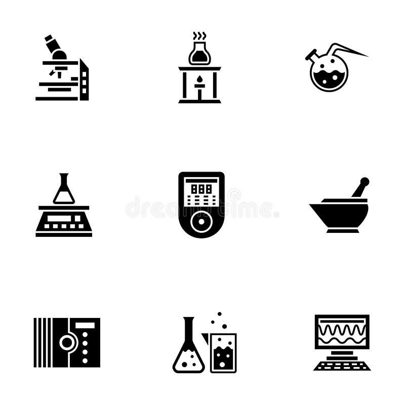 De chemische geplaatste pictogrammen van de laboratorium glyph stijl stock foto