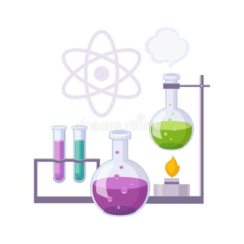 De Chemische producten van chemiekit with test tubes and, Reeks van School en Onderwijs Verwante Voorwerpen in Kleurrijke Beeldve stock illustratie
