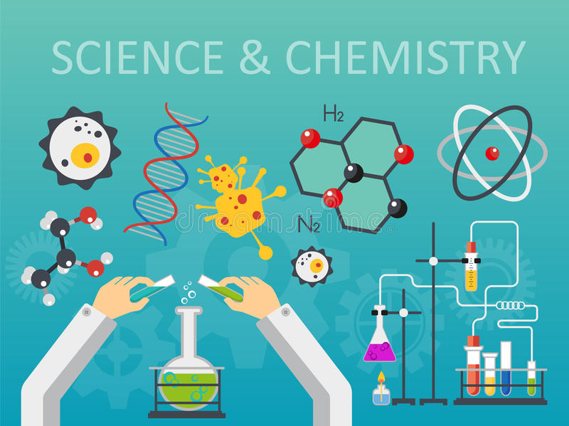 De chemische van de laboratoriumwetenschap en technologie vlakke vectorillustratie van het stijlontwerp De werkplaatsconcept van  royalty-vrije illustratie