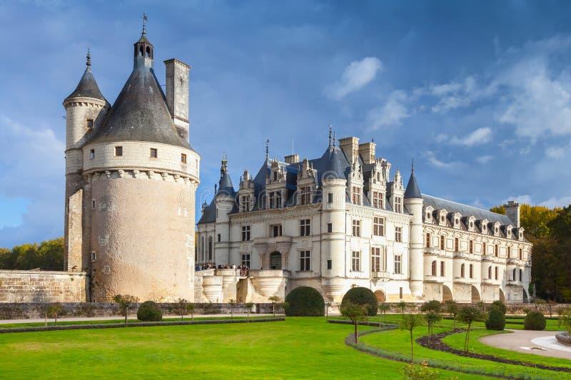 de chenonceau zamku grodowy francuski średniowieczny fotografia royalty free