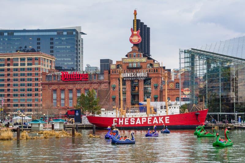De Chesapeakefyrskeppet och byggnaderna p? den inre hamnen, i Baltimore, Maryland royaltyfria foton