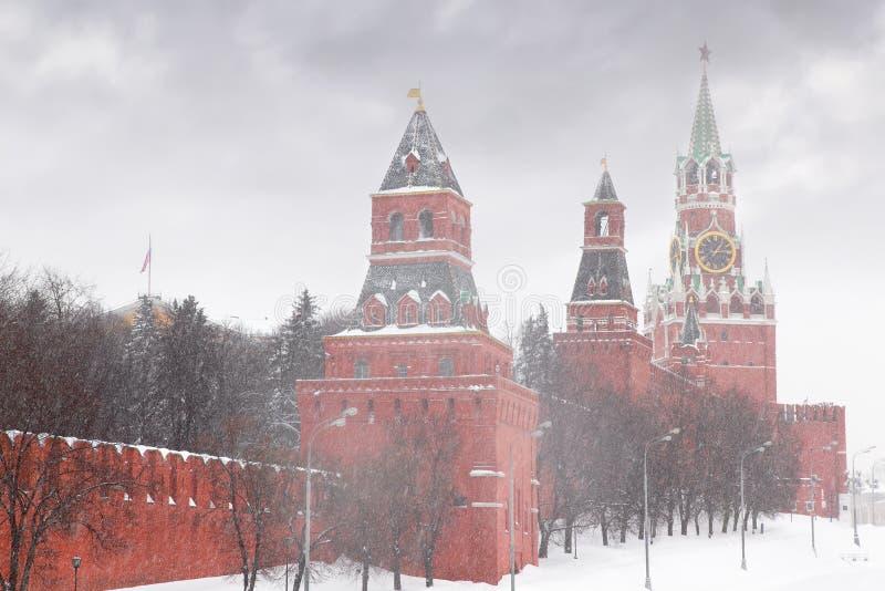 De chiming klok van het Kremlin van de Toren Spasskaya stock foto