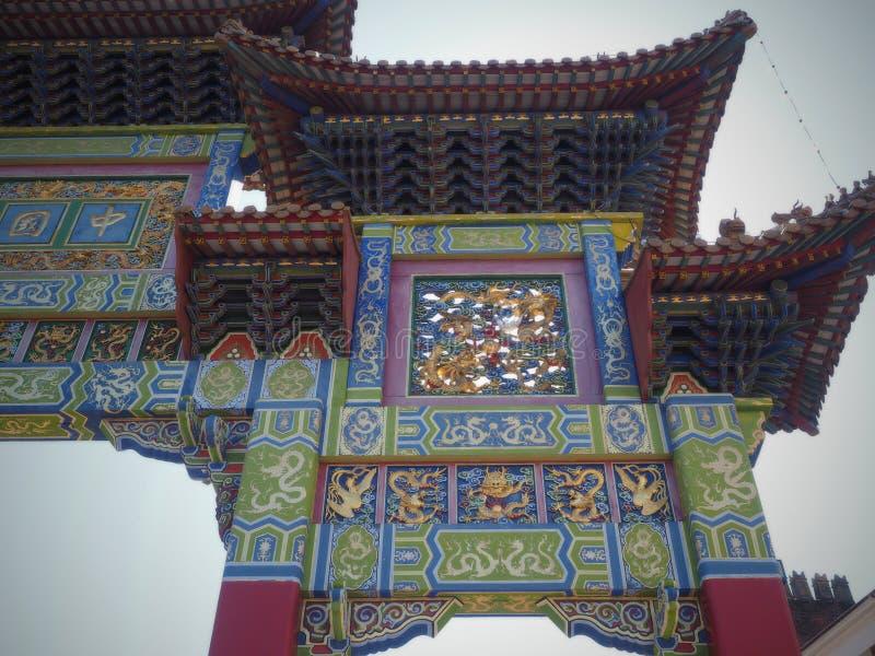 De Chinatown is een gebied van Liverpool dat een etnisch enclavehuis aan de oudste Chinese gemeenschap in Europa is royalty-vrije stock foto's
