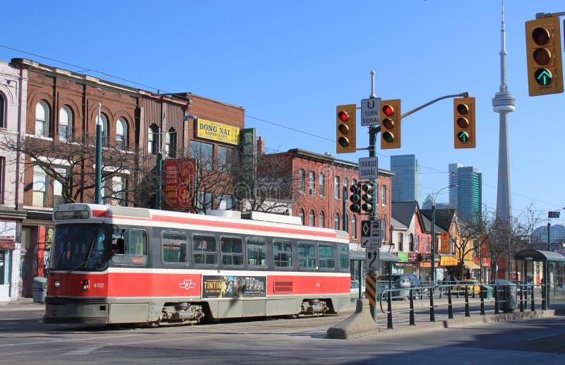 De Chinatown en de tram van Toronto stock fotografie