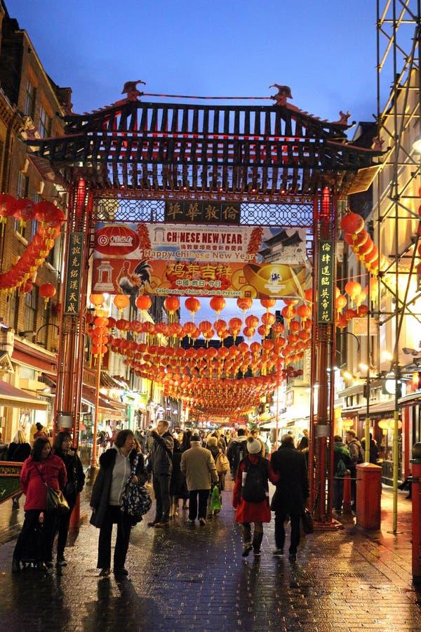 De Chinatown van de straatscène, Londen Engeland bij nacht royalty-vrije stock foto's