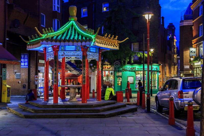 De Chinatown van Londen bij nacht royalty-vrije stock fotografie