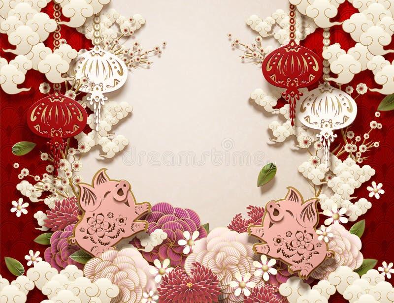 De Chinese Achtergrond van het Nieuwjaar vector illustratie