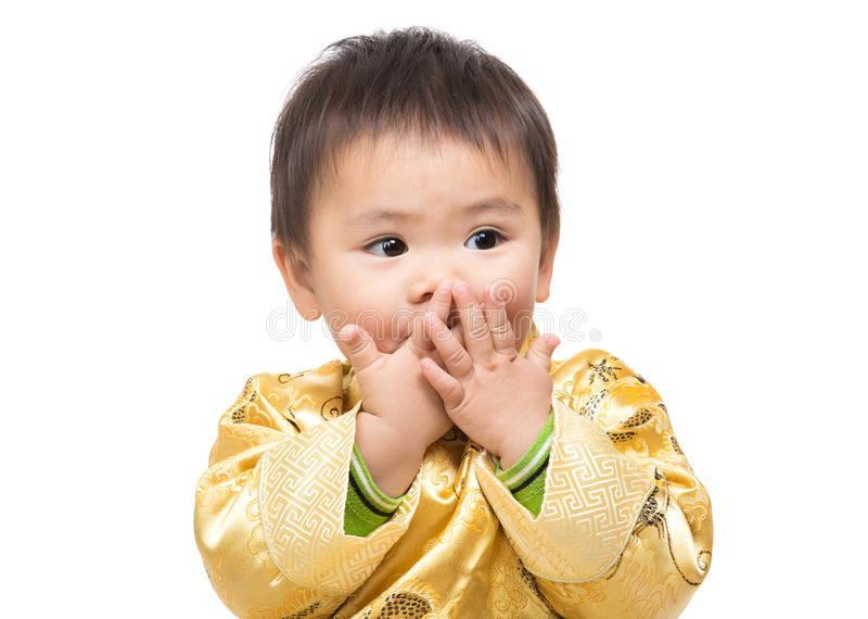 De Chinese babyjongen voelt het schokken royalty-vrije stock foto