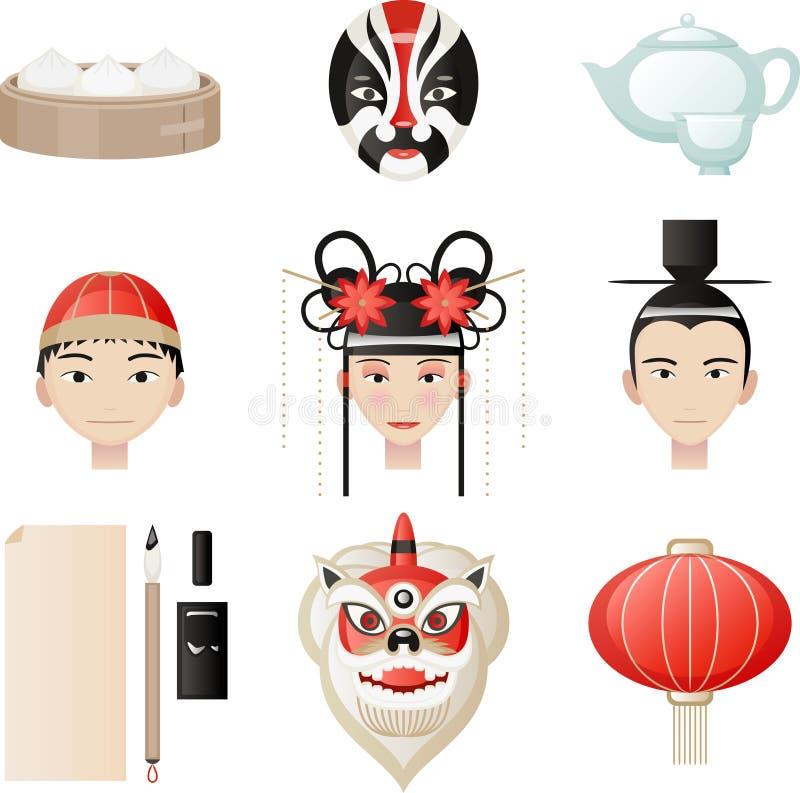 De Chinese Culturele Elementen van het Cultuurpictogram royalty-vrije illustratie