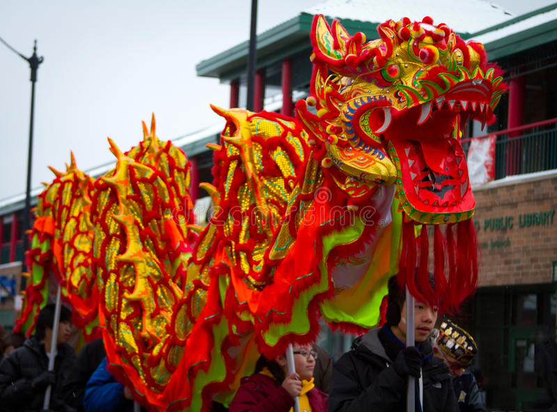 De Chinese Draak van de Parade van het Nieuwjaar royalty-vrije stock foto