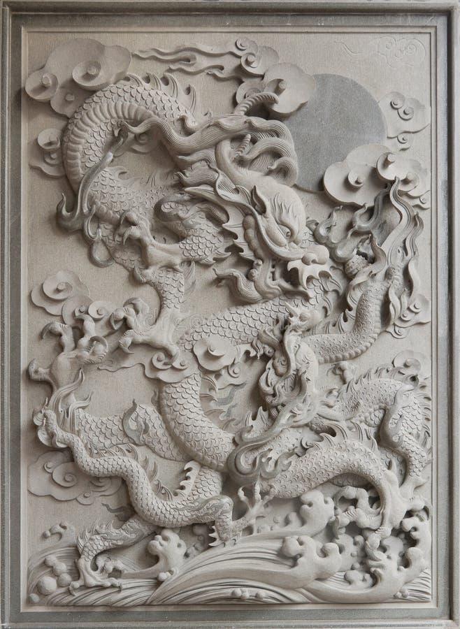 De Chinese Gravure van de Steen van het Graniet van de Draak royalty-vrije stock foto's