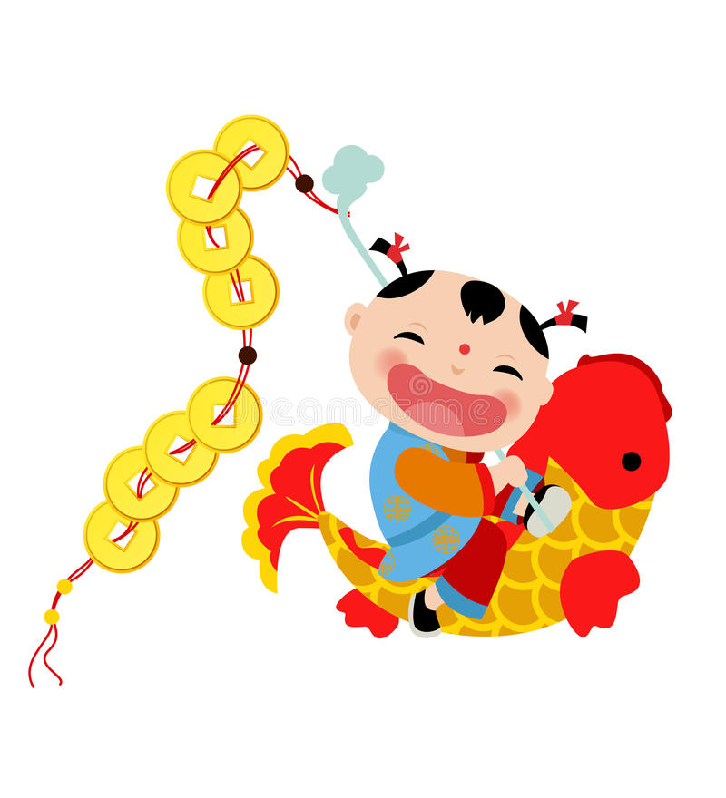 De Chinese jongen van Nieuwjaargroeten royalty-vrije illustratie
