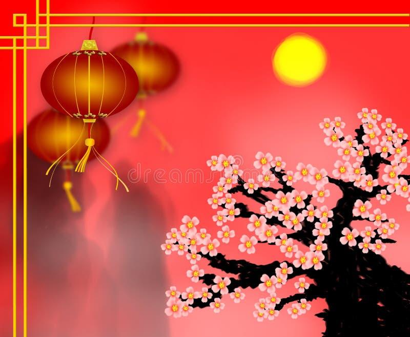 De Chinese kaart van de Nieuwjaargroet van rode document lantaarn met pruimbl stock foto