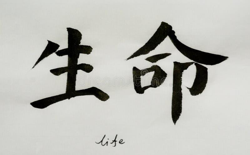 De Chinese Kalligrafie betekent `-het leven ` voor Tatoo stock afbeelding