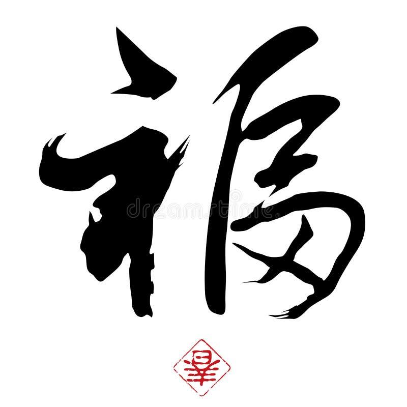 De Chinese Kalligrafie van het Nieuwjaar stock illustratie