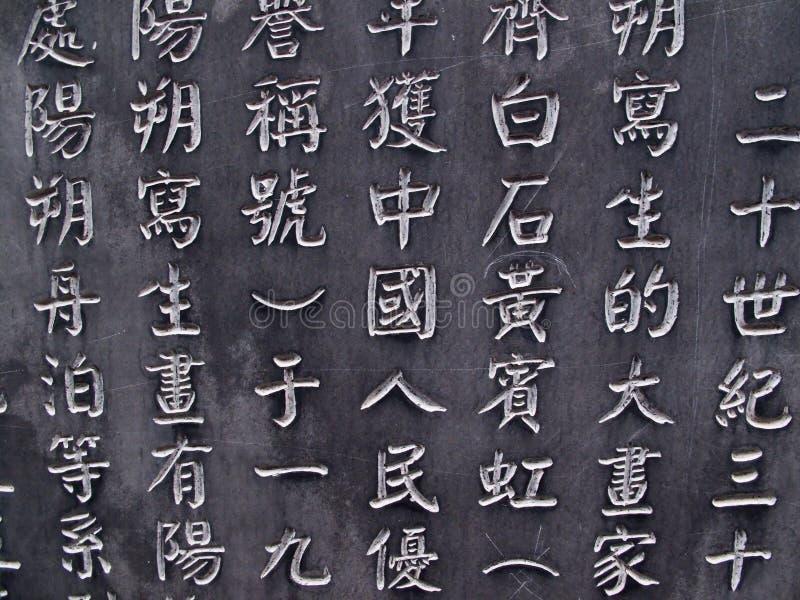 De Chinese Karakters etsten in steen royalty-vrije stock foto's