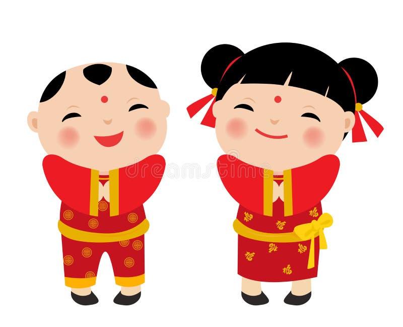 De Chinese Kinderen van Nieuwjaargroeten royalty-vrije illustratie