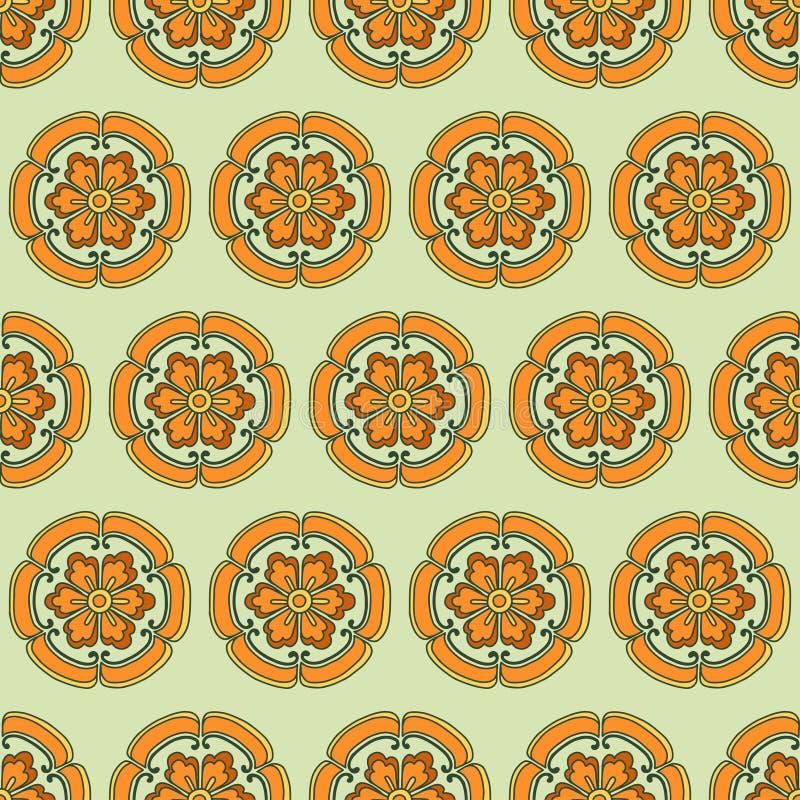De Chinese Kleur van het bloempatroon stock illustratie