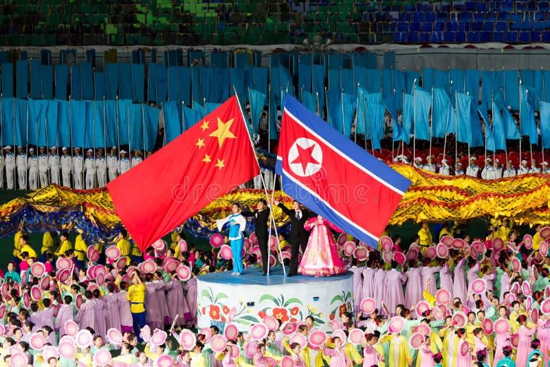 De Chinese Koreaanse vriendschap van het Noorden bij de Spelen van de Massa Arirang royalty-vrije stock afbeelding