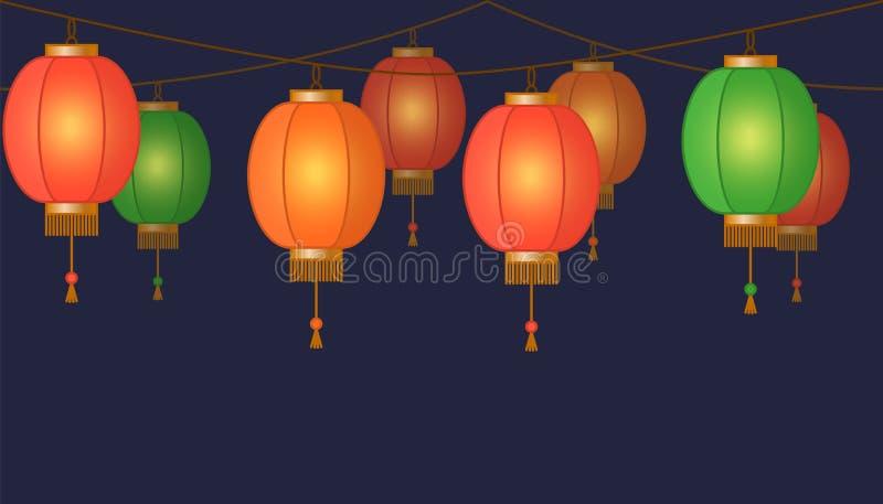 De Chinese lantaarnslinger, kleurrijke Aziatische traditionele document lampen ketent op donkere achtergrond, feelichten met vonk royalty-vrije illustratie