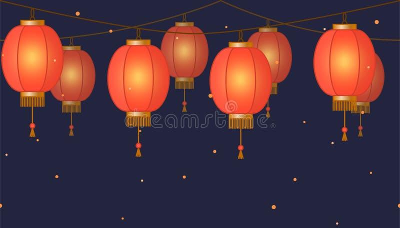 De Chinese lantaarnslinger, kleurrijke Aziatische traditionele document lampen ketent op donkere achtergrond, feelichten met vonk stock illustratie