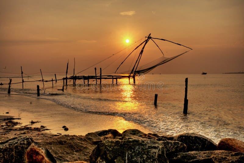 De Chinese Netten van de Visserij, Cochin Fort, Kerala, India stock afbeeldingen