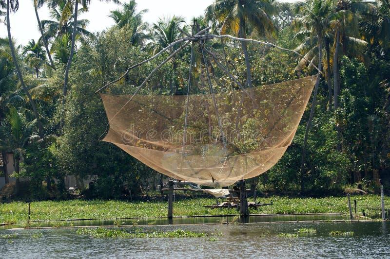 De Chinese Netten van de Visserij Vembanadmeer, Kerala, Zuid-India stock fotografie