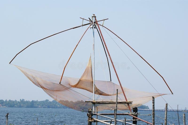 De Chinese Netten van de Visserij Vembanadmeer, Kerala, Zuid-India stock afbeelding