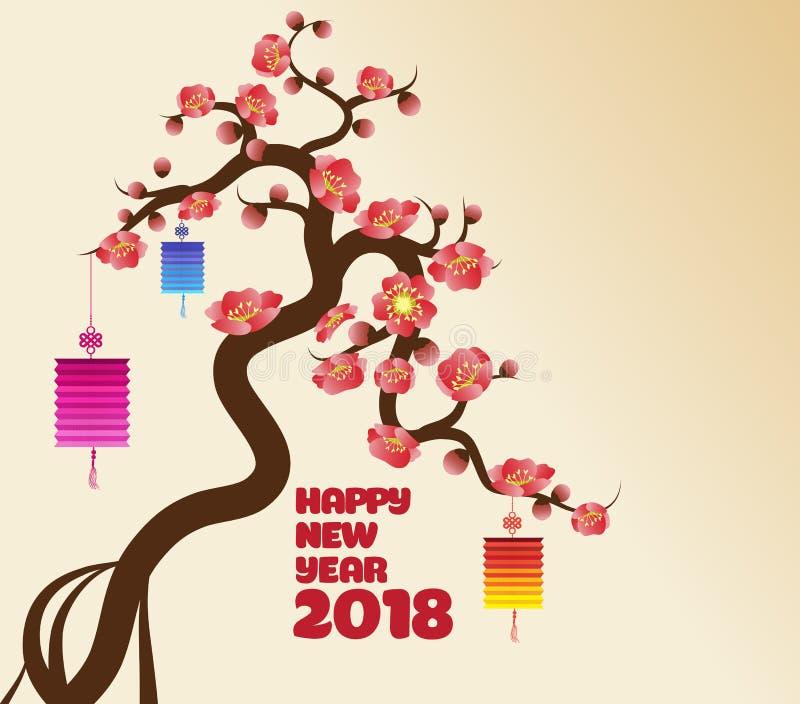 De Chinese nieuwe decoratie van de jaar` s lantaarn voor het festival van de bloesemlente stock illustratie