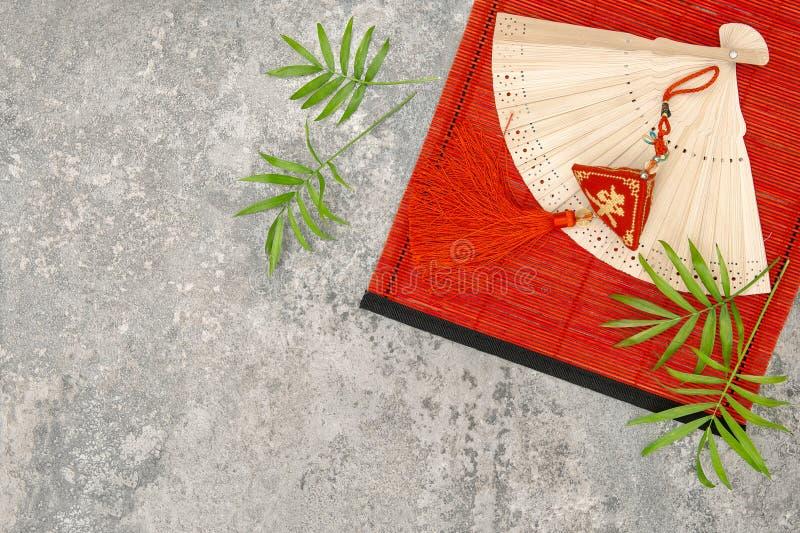 De Chinese nieuwe mat van het de charme rode bamboe van het jaarornament Gelukkige royalty-vrije stock foto