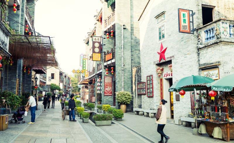 De Chinese oude mening van de stadsstraat, Chinese traditionele stad in klassieke stijl in China royalty-vrije stock foto