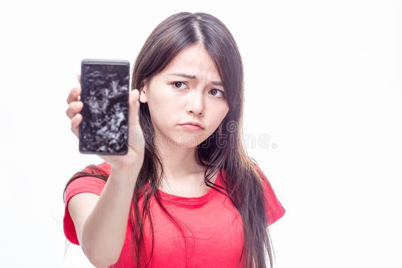 De Chinese telefoon van de vrouwen woth gebarsten cel royalty-vrije stock fotografie