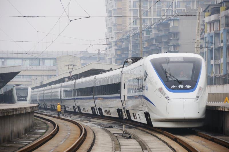 De Chinese trein van de crhhoge snelheid stock foto