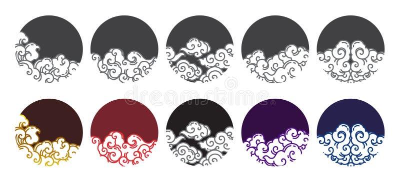 De Chinese vector van het het embleemontwerp van de wolkenlijn vector illustratie