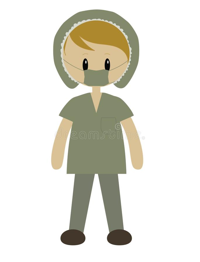 De chirurg in groen schrobt royalty-vrije stock foto