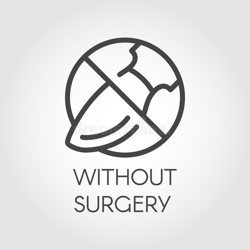 De chirurg van het eindeteken Pictogramtekening in dunne lineaire stijl Symboolmisbruik van plastische chirurgie Vector illustrat stock illustratie