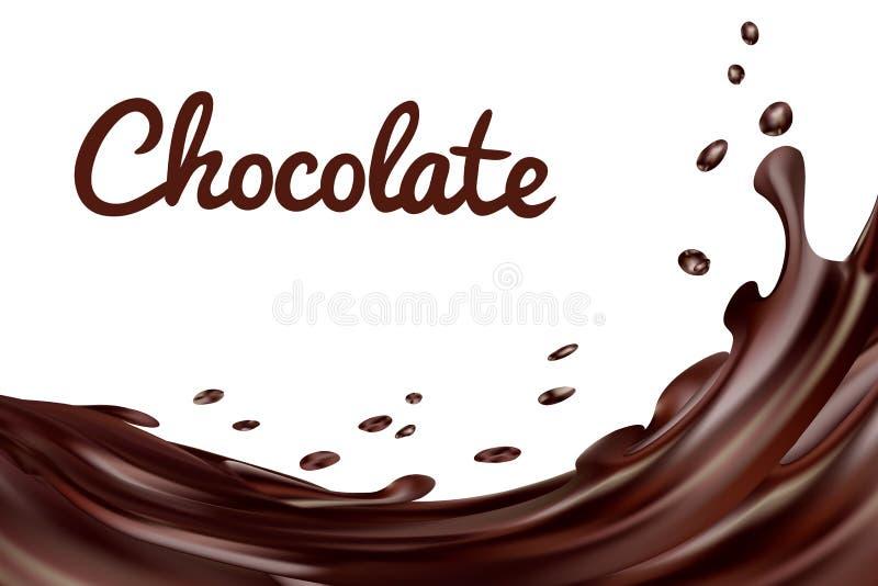 De chocolade bespat achtergrond Bruine hete koffie of chocolade met dalingen en bouten op witte achtergrond, vector stock illustratie