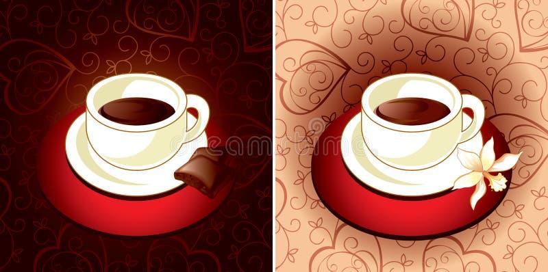 De chocolade en de vanille van de koffie royalty-vrije illustratie